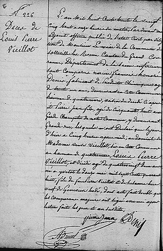 Louis Jean Pierre Vieillot - Death entry for Louis Pierre Vieillot am August 24, 1830 in Sotteville-lès-Rouen