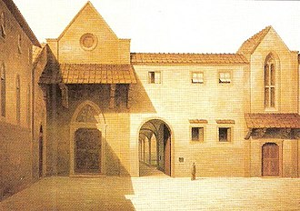 Hospital of Santa Maria Nuova -  Old facade of the hospital before the completion of the porch (painting by Fabio Borbottoni, 1820-1902)
