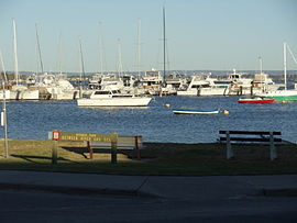 View of the Swan River and sign of Mosman Park, Western Australia.JPG