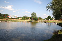 Village pond in Pozďatín, Třebíč District.jpg