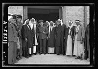 Visit to Beersheba Agricultural Station (Experimental) by Brig. Gen. Allen & staff & talks to Bedouin sheiks of district by station superintendent. Gen. Allan & paramount sheiks of Beersheba LOC matpc.20530.jpg