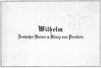 Visiting card - Image: Visiting Card of Kaiser Wilhelm