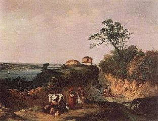 View of the Amora, landscape with figures