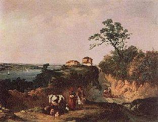 Vista da Amora, paisagem com figuras