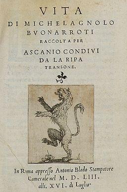 Vita di Michelagnolo Buonarroti title page (cropped)