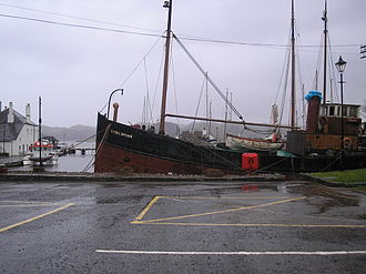 Vital Spark - A ship dressed as the Vital Spark at Crinan, in Argyll and Bute.