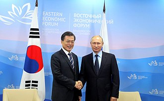 Moon Jae-in - Moon meets with Russian President Vladimir Putin at the Eastern Economic Forum in Vladivostok, Russia, 6 September 2017