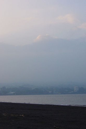 Vog - Dense vog as seen from Hilo Bay, Hawai{{okina}}i.