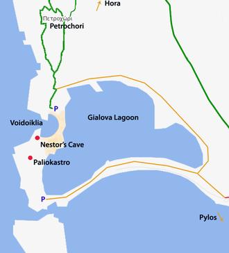 Voidokilia beach - Voidokilia location map.