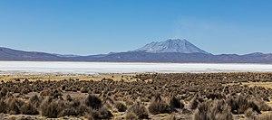 Ubinas - Ubinas volcano and Salinas lagoon, seen here in August 2015.