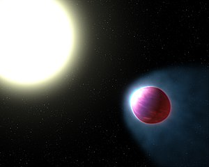 WASP-121b - Artist's impression of WASP-121b and its host star