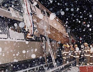 North American blizzard of 1996 - Picture taken of the aftermath of a Washington Metro accident at Shady Grove station during the blizzard, which resulted in the death of a Metro operator.