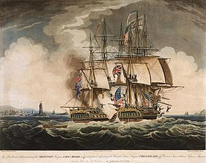 W Elmes, The Brilliant Achievement of the Shannon ... in Boarding and Capturing the United States Frigate Chesapeake off Boston, June 1st 1813 in Fifteen Minutes (1813).jpg