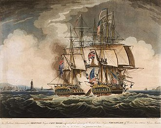 Naval warfare - A painter's depiction of the capture of the American frigate USS Chesapeake (right) by the British frigate HMS Shannon (left) during the War of 1812.
