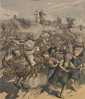 Melilla - Illustration of the death of Spanish General Juan García y Margallo during the First Melillan campaign in 1893