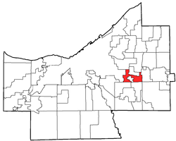 Location of Warrensville Heights in Cuyahoga County