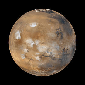 Mars in natürlichen Farben, die Daten für das computergenerierte Bild wurden im April 1999 mit dem Mars Global Surveyor aufgenommen