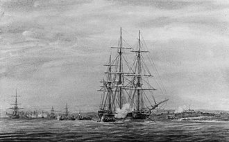 HMS Moselle (1804) - Image: Watercolour of HMS Moselle in Charleston Bay 1813