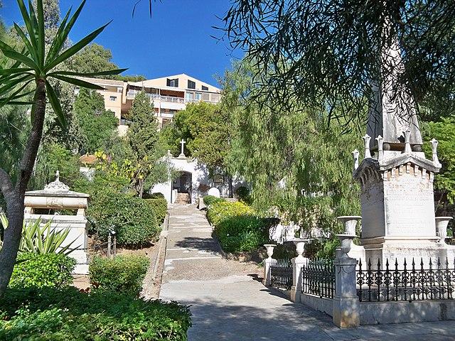 Vista del cementerio inglés de Málaga