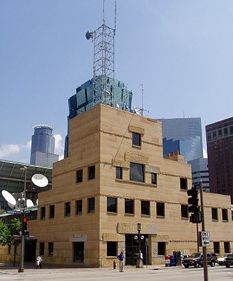 WCCO-TV on the Nicollet Mall. The channel is named for Washburn Crosby Company (later, General Mills) who purchased the radio station WCCO. Wcco office.jpg