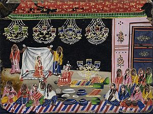 Dowry system in India - Wedding Procession- Bride Under a Canopy with Gifts.  Circa 1800.