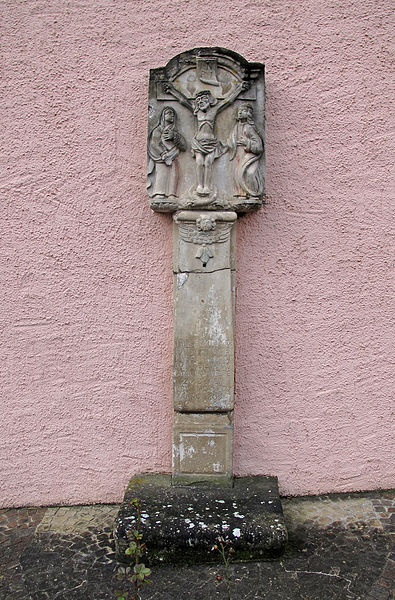 Wayside cross in Koerich, Luxembourg, at the municipal administration
