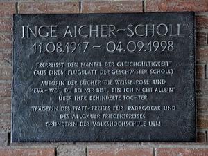 Inge Scholl - Commemorative plaque to Inge Aicher-Scholl.