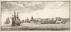 Siege of Calais (1596) - Port-city of Calais by Wenceslaus Hollar. Thomas Fisher Rare Book Library.