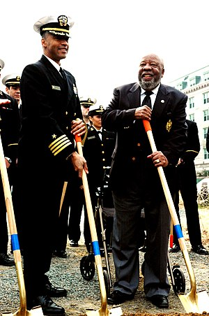 Wesley A. Brown - Then Captain, now Admiral, Bruce E. Grooms (left) and Wesley Brown (right) at the groundbreaking ceremony for the Wesley Brown Field House, March 25, 2006