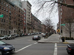 Morningside Heights, Manhattan - Residential buildings on West 116th Street opposite Columbia University
