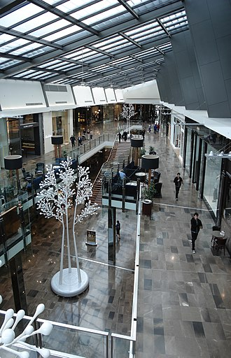 Westfield Doncaster - A view of the mall interior. This section, looking west from level two above the level one entrance to David Jones, opened on 16 October 2008.