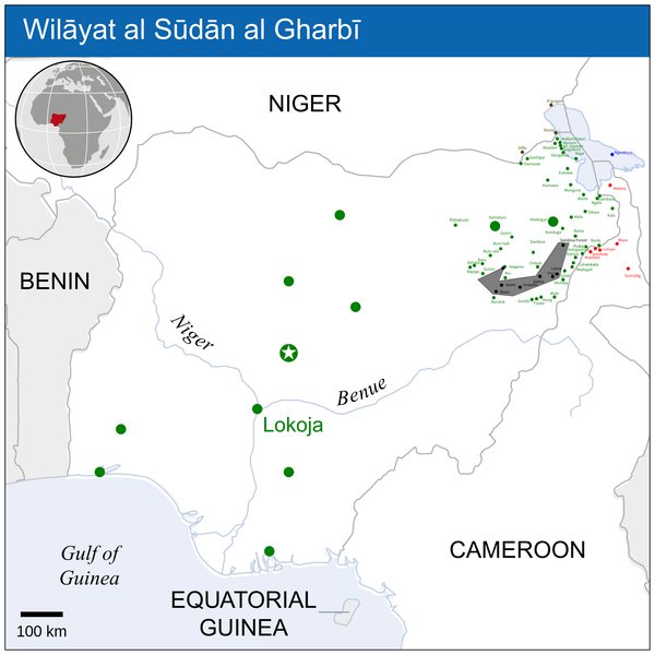 Map of Boko Haram's territorial control on 10 April 2015, over 2 months after the start of the 2015 West African offensive Wilayat al Sudan al Gharbi.png