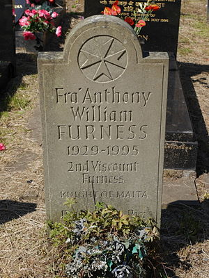 William Anthony Furness, 2nd Viscount Furness - Grave stone of Furness, Kensal Green Cemetery, London, with Maltese Cross referring to his position as a knight of the Sovereign Military Order of Malta.