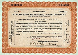 Winchester Repeating Arms Company - Share of the Winchester Repeating Arms Company, issued 4. March 1929