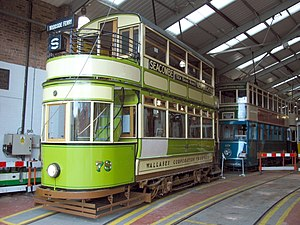 Wirral Transport Museum - Wallasey Corporation tram No. 78 in the tramshed, with Hong Kong tram No. 69 to the rear.