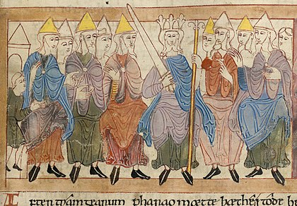 Anglo-Saxon king with his witan. Biblical scene in the Illustrated Old English Hexateuch (11th century) Witan hexateuch.jpg