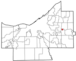Location of Woodmere in Cuyahoga County