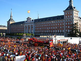 2010 in Spain - World cup champions celebrate as they pass in front of the Air Force Headquarters in Madrid, July 12