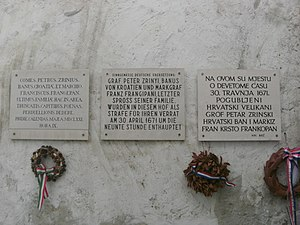 Magnate conspiracy - Memorial plaques in honour of Frankopan and Zrinski written in Latin, German and Croatian in Wiener Neustadt