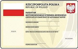 Motorowodny sternik morski Chorwacja - wzór patentu (awers)