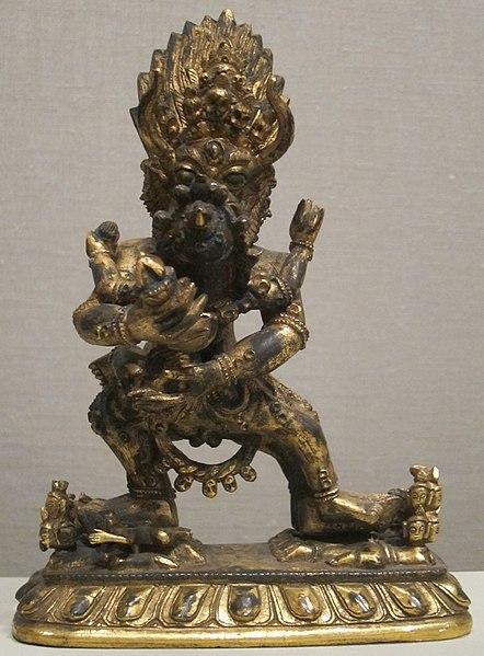 File:Yamantaka statue from Nepal, 18th-19th century, gilt bronze, Honolulu Museum of Art.JPG