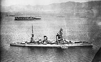 Japanese battleship Yamashiro (foreground) in October 1930, with original tripod mast