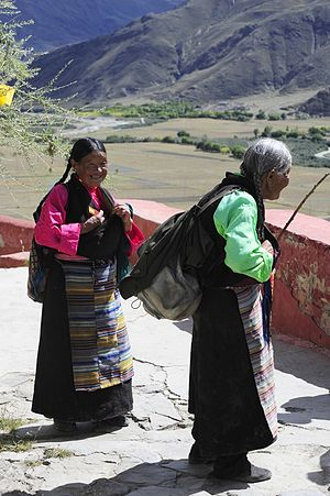 Yarlung Valley - Elderly Tibetan women at Ombu Lhakang in the Yarlung Valley