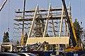 Ylivieskan uuden kirkon rakennustyömaa Kauppakujalta kuvattuna.jpg
