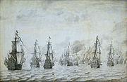 Zeeslag bij Duinkerken 18 februari 1639 (Willem van de Velde I, 1659)