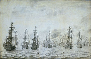 Action of 18 February 1639 - The naval battle against the Spaniards near Dunkerque, 18 february 1639. Oil and ink on canvas by Willem van de Velde the Elder.