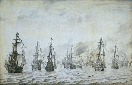 The naval battle against the Spanish near Dunkerque, 18 February 1639. Zeeslag bij Duinkerken 18 februari 1639 (Willem van de Velde I, 1659).jpg