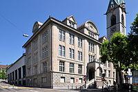 Zentralbibliothek Zürich & Predigernturm - Mühlegasse 2011-08-01 15-22-44 ShiftN2.jpg