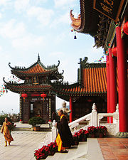 Zhuhai Jintai Temple inner court view and monks