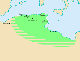 Zirid dynasty - Zirid territory (green) at its maximum extent at the end of the 10th century